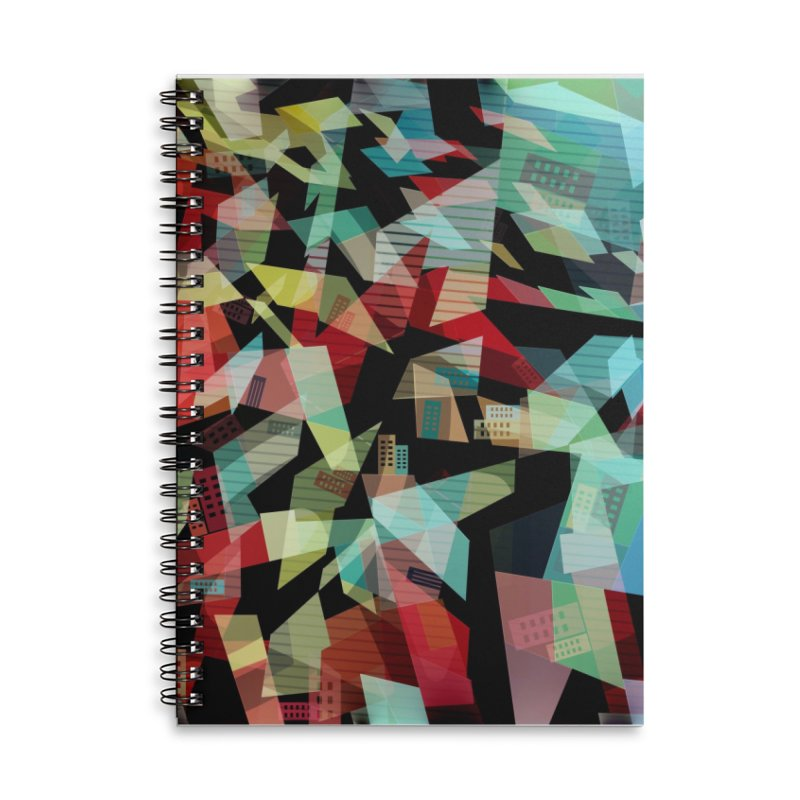 Abstract city in the mirror Accessories Lined Spiral Notebook by fruityshapes's Shop