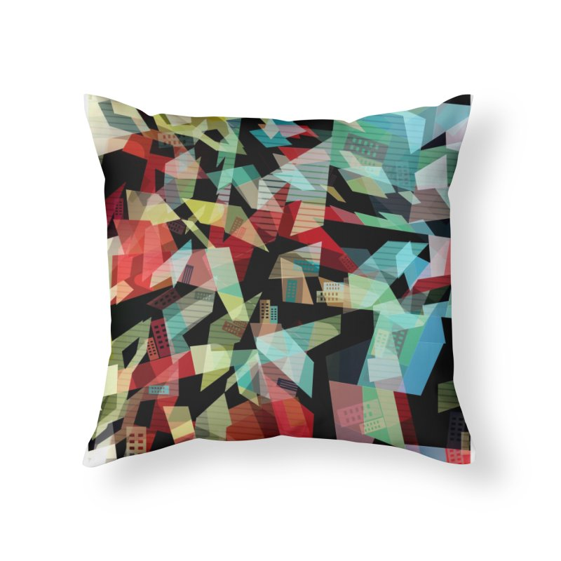 Abstract city in the mirror Home Throw Pillow by fruityshapes's Shop