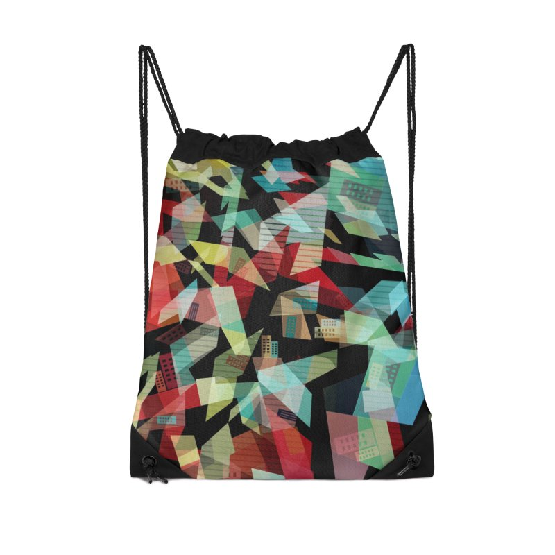 Abstract city in the mirror Accessories Drawstring Bag Bag by fruityshapes's Shop
