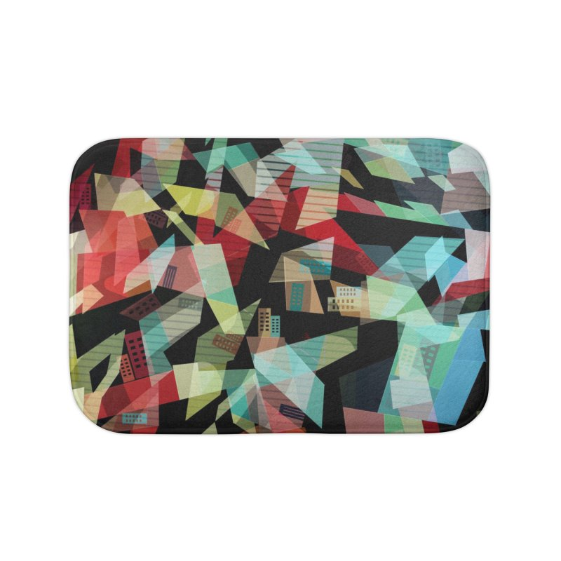 Abstract city in the mirror Home Bath Mat by fruityshapes's Shop
