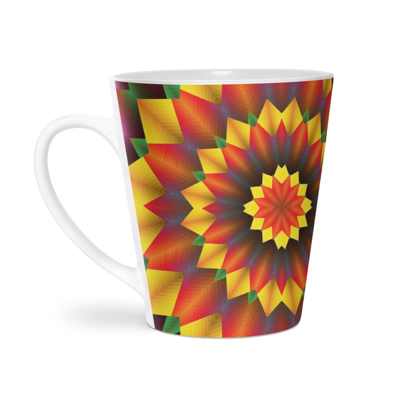 Abstract colorful flowers Mandala Accessories Latte Mug by fruityshapes's Shop