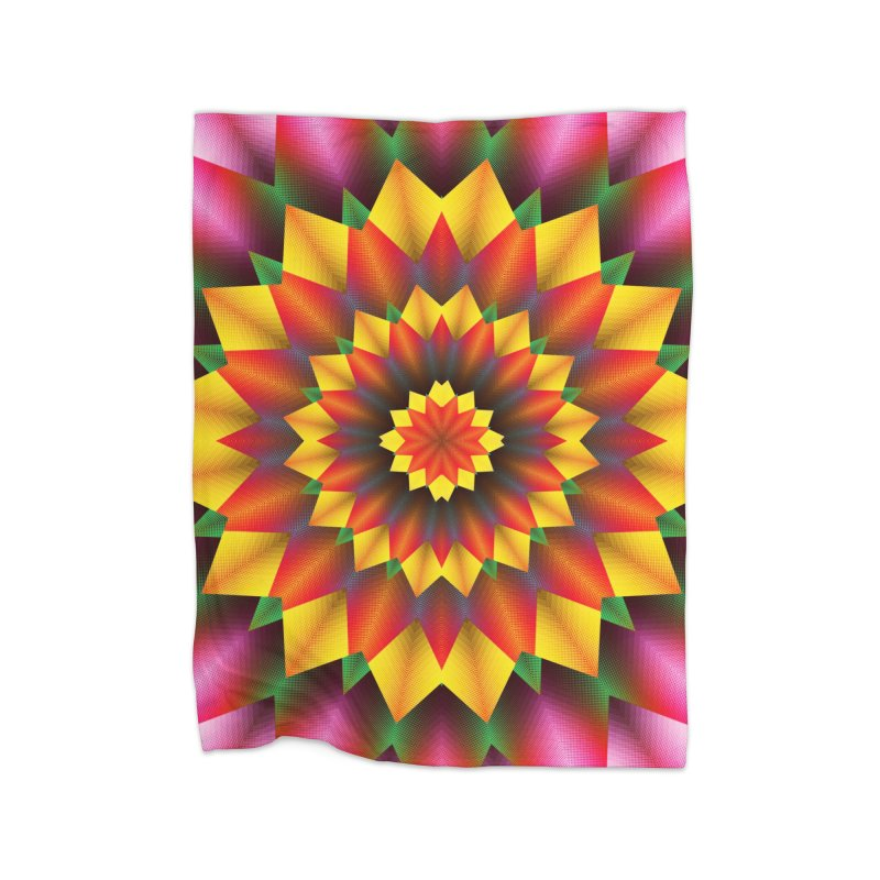Abstract colorful flowers Mandala Home Fleece Blanket Blanket by fruityshapes's Shop