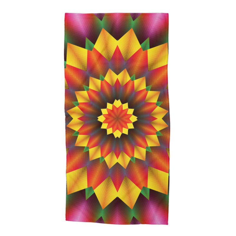 Abstract colorful flowers Mandala Accessories Beach Towel by fruityshapes's Shop