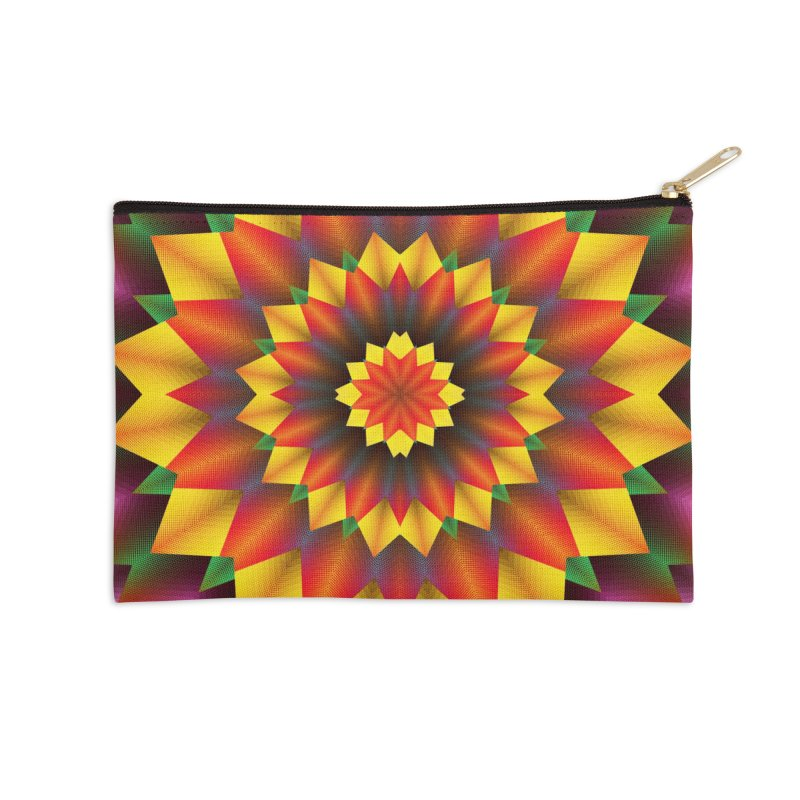 Abstract colorful flowers Mandala Accessories Zip Pouch by fruityshapes's Shop