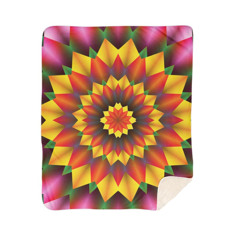 Abstract colorful flowers Mandala Home Sherpa Blanket Blanket by fruityshapes's Shop