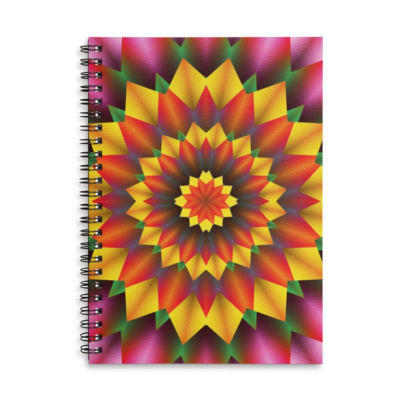 Abstract colorful flowers Mandala Accessories Lined Spiral Notebook by fruityshapes's Shop