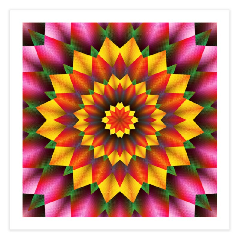 Abstract colorful flowers Mandala Home Fine Art Print by fruityshapes's Shop