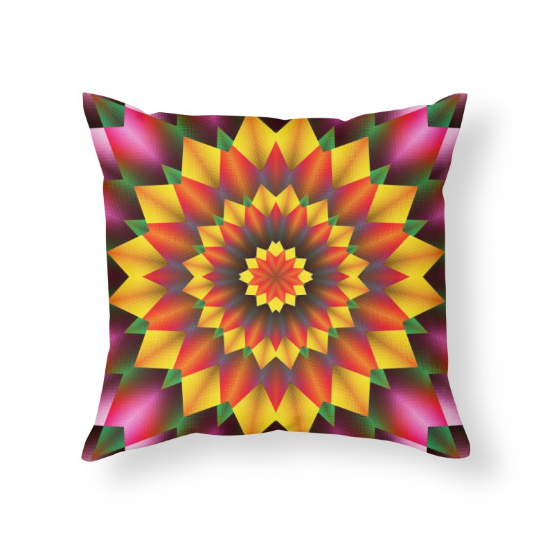 Abstract colorful flowers Mandala Home Throw Pillow by fruityshapes's Shop