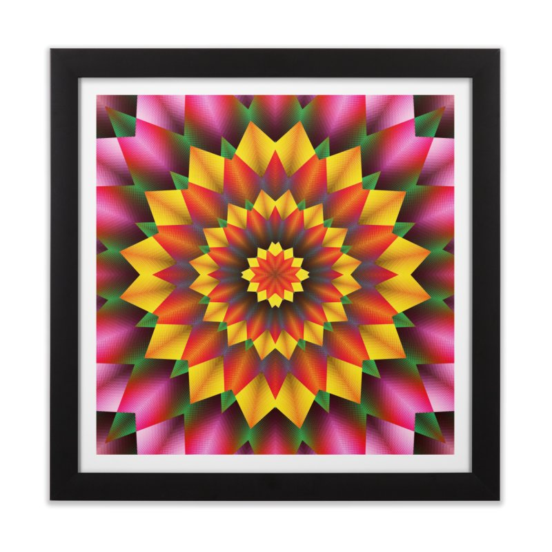 Abstract colorful flowers Mandala Home Framed Fine Art Print by fruityshapes's Shop