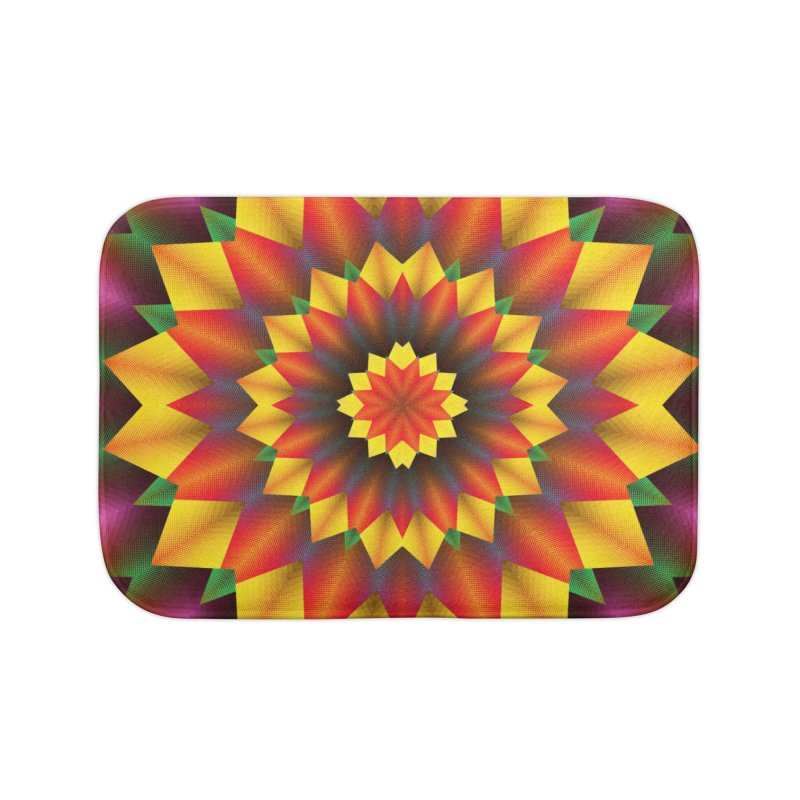 Abstract colorful flowers Mandala Home Bath Mat by fruityshapes's Shop