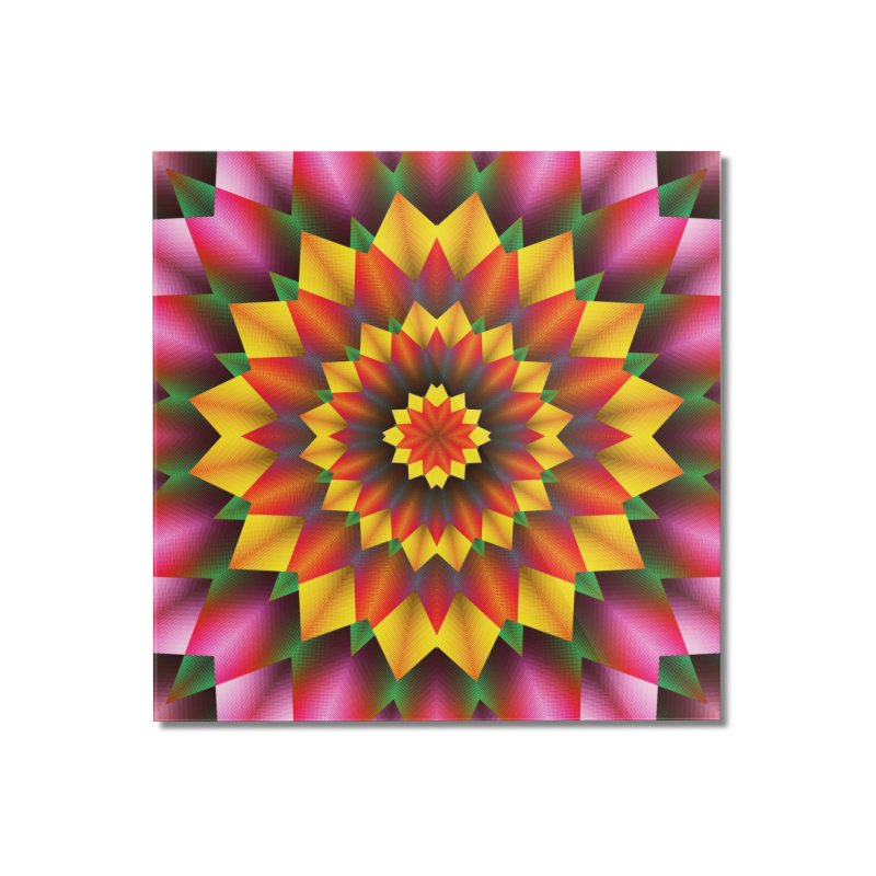 Abstract colorful flowers Mandala Home Mounted Acrylic Print by fruityshapes's Shop