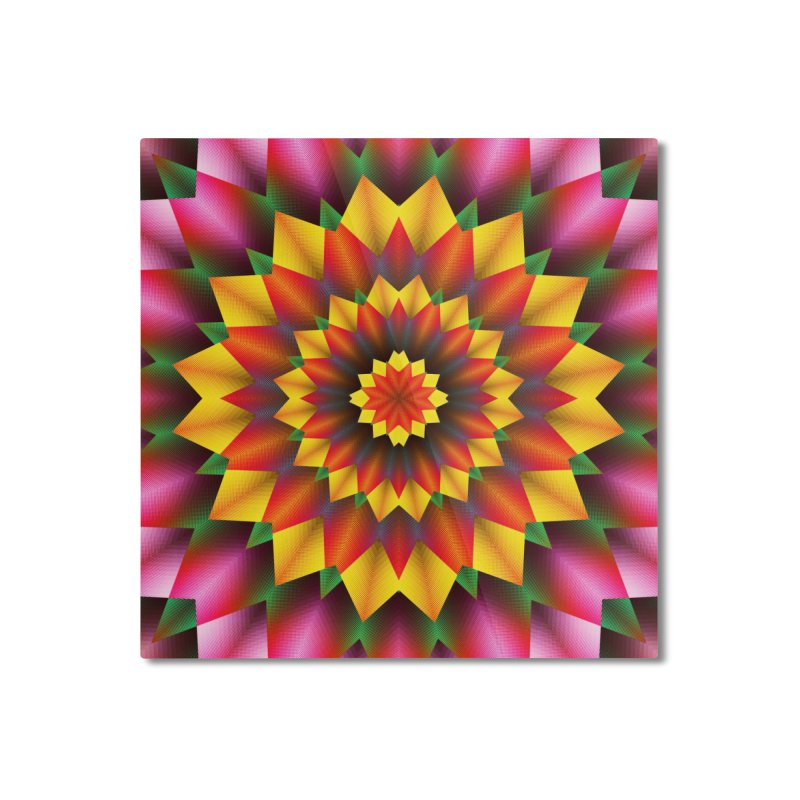 Abstract colorful flowers Mandala Home Mounted Aluminum Print by fruityshapes's Shop