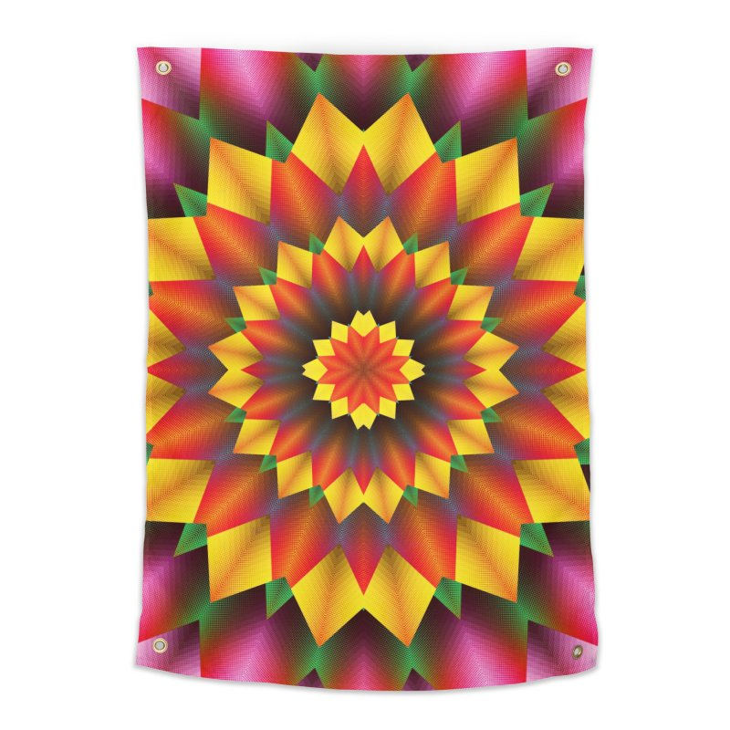 Abstract colorful flowers Mandala Home Tapestry by fruityshapes's Shop