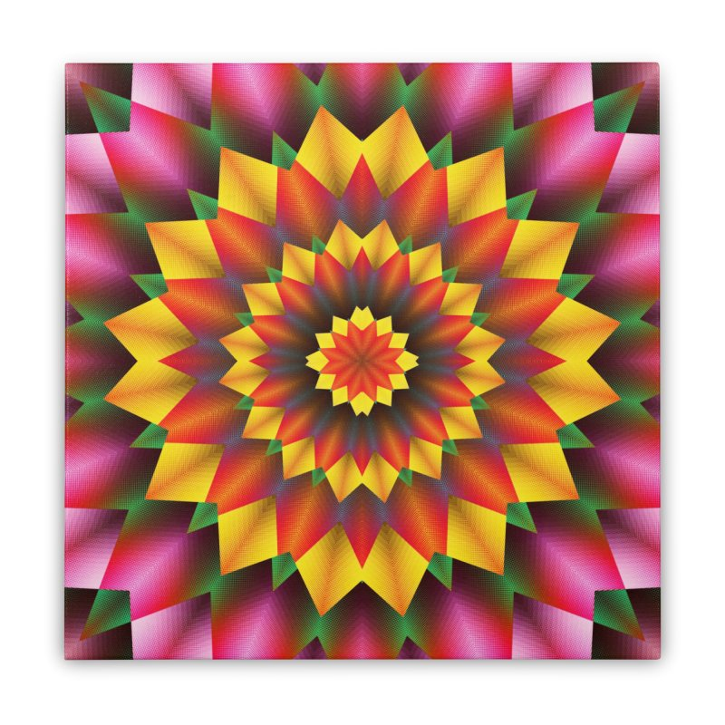 Abstract colorful flowers Mandala Home Stretched Canvas by fruityshapes's Shop