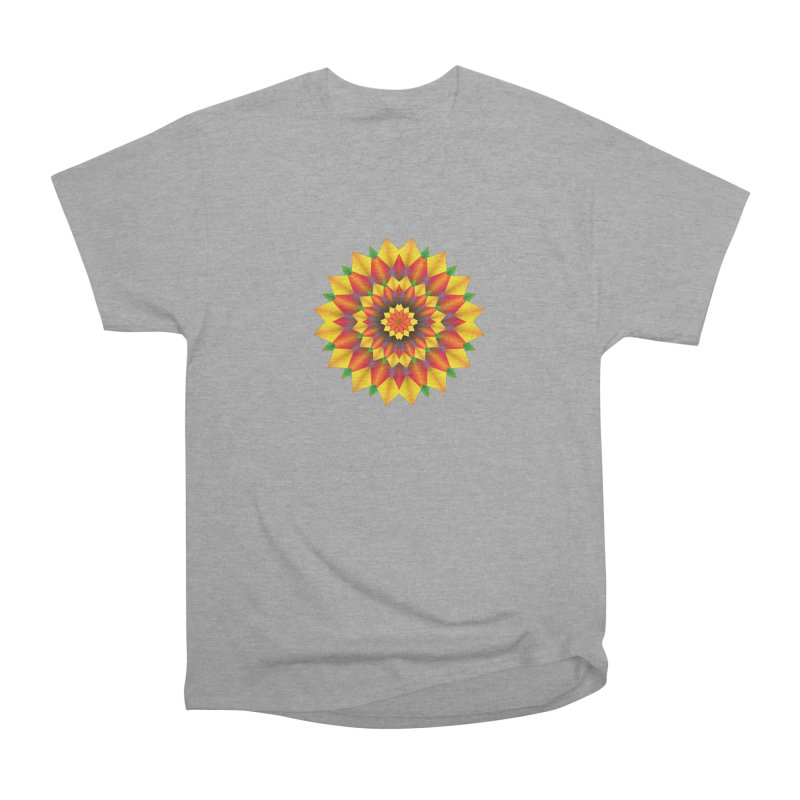 Abstract colorful flowers Mandala Women's Heavyweight Unisex T-Shirt by fruityshapes's Shop