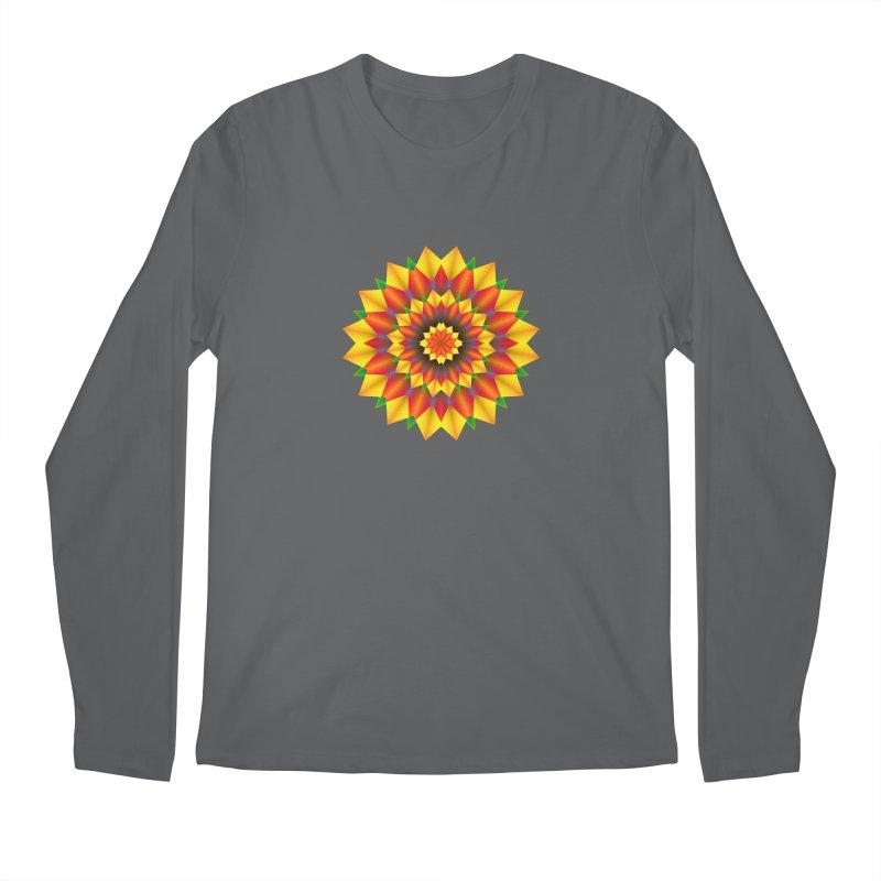 Abstract colorful flowers Mandala Men's Regular Longsleeve T-Shirt by fruityshapes's Shop