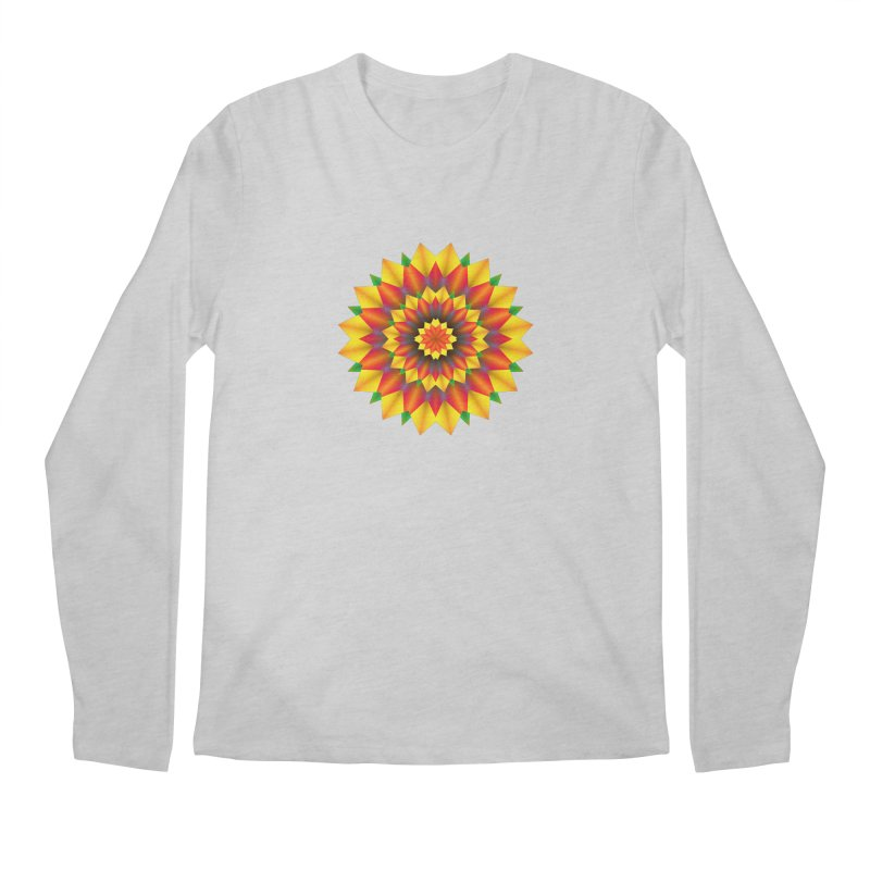 Abstract colorful flowers Mandala Men's Regular Longsleeve T-Shirt by fruityshapes's Shop