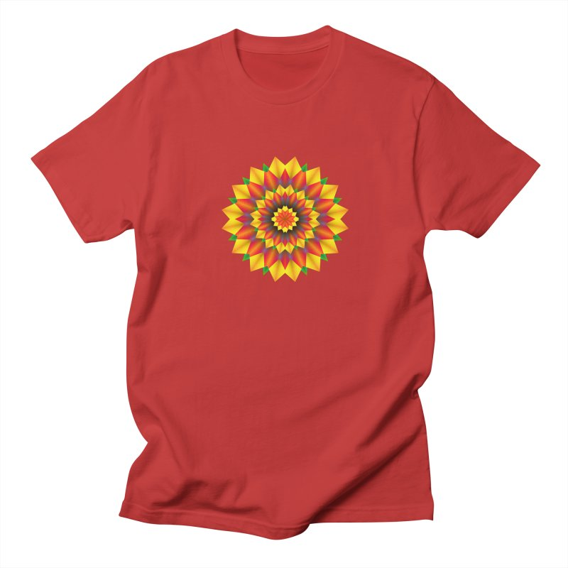 Abstract colorful flowers Mandala Men's Regular T-Shirt by fruityshapes's Shop