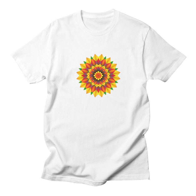 Abstract colorful flowers Mandala Women's Regular Unisex T-Shirt by fruityshapes's Shop