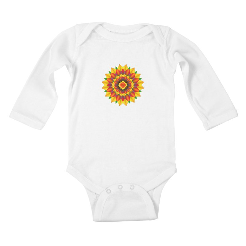 Abstract colorful flowers Mandala Kids Baby Longsleeve Bodysuit by fruityshapes's Shop