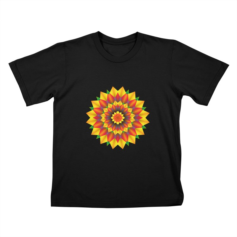 Abstract colorful flowers Mandala Kids T-Shirt by fruityshapes's Shop