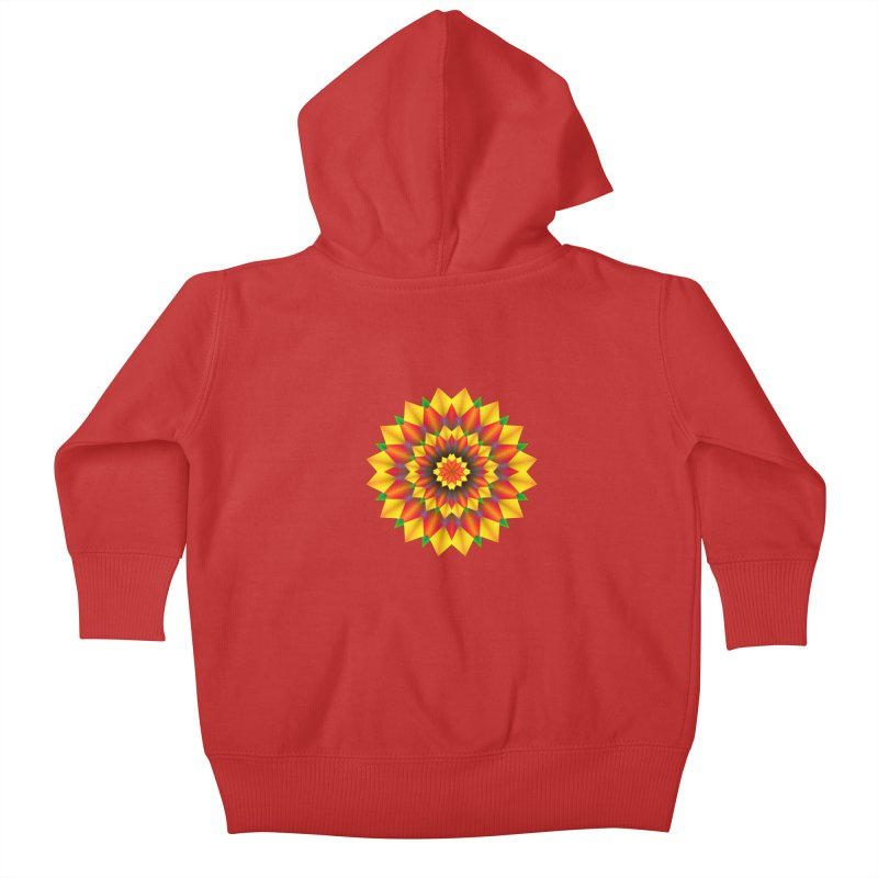 Abstract colorful flowers Mandala Kids Baby Zip-Up Hoody by fruityshapes's Shop