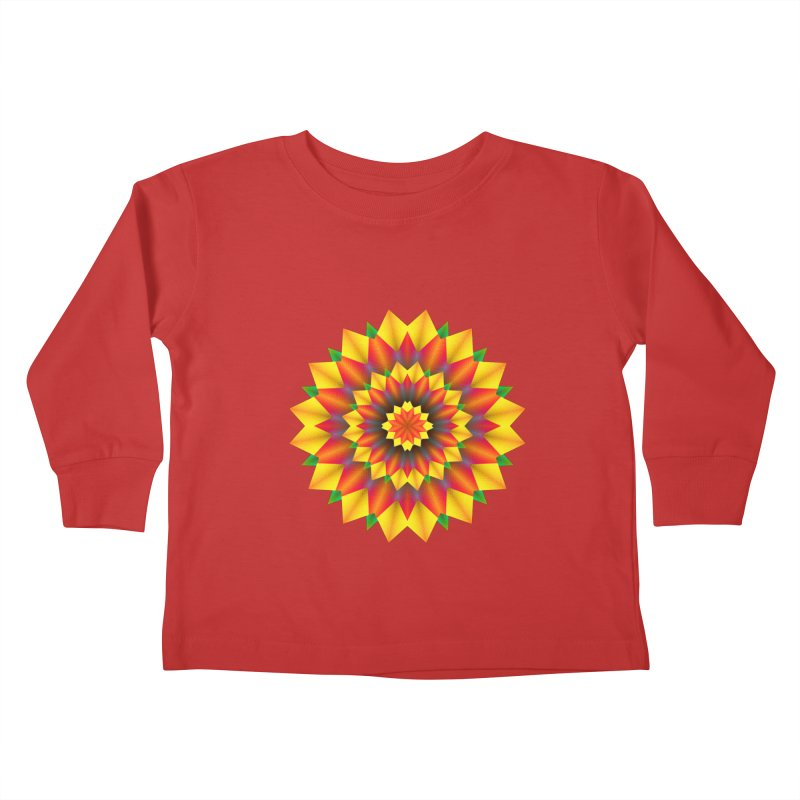 Abstract colorful flowers Mandala Kids Toddler Longsleeve T-Shirt by fruityshapes's Shop