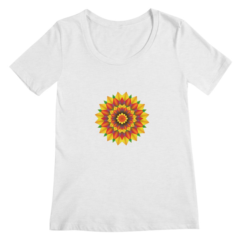 Abstract colorful flowers Mandala Women's Regular Scoop Neck by fruityshapes's Shop