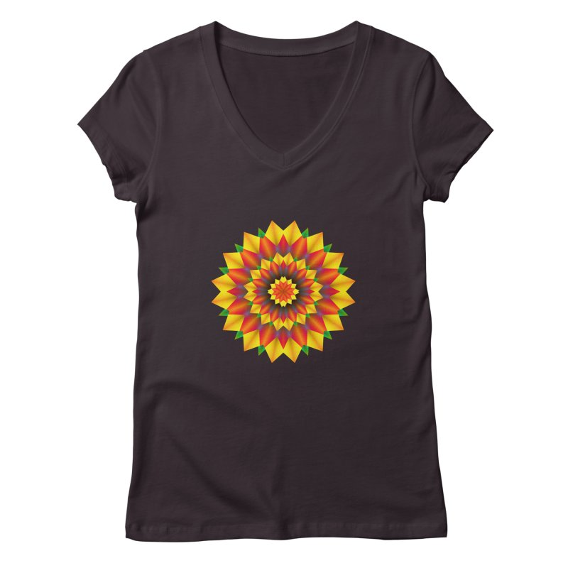Abstract colorful flowers Mandala Women's V-Neck by fruityshapes's Shop