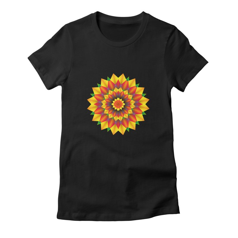 Abstract colorful flowers Mandala Women's Fitted T-Shirt by fruityshapes's Shop