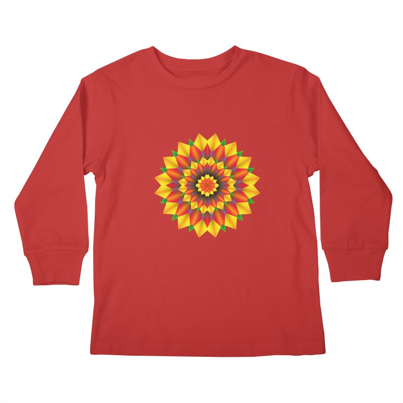 Abstract colorful flowers Mandala Kids Longsleeve T-Shirt by fruityshapes's Shop