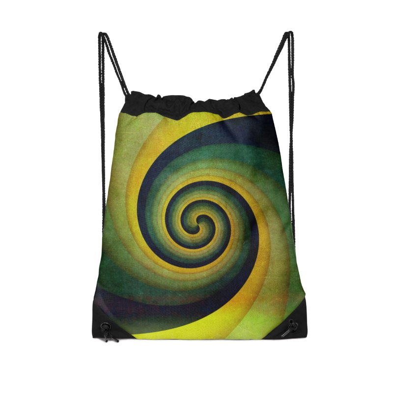 Green Swirl Accessories Drawstring Bag Bag by fruityshapes's Shop