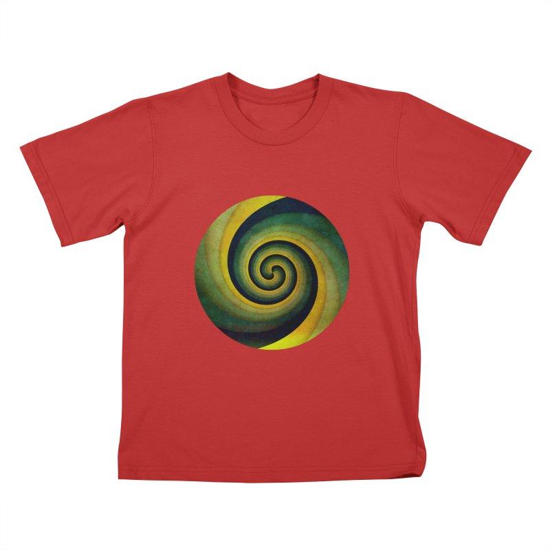 Green Swirl Kids T-Shirt by fruityshapes's Shop