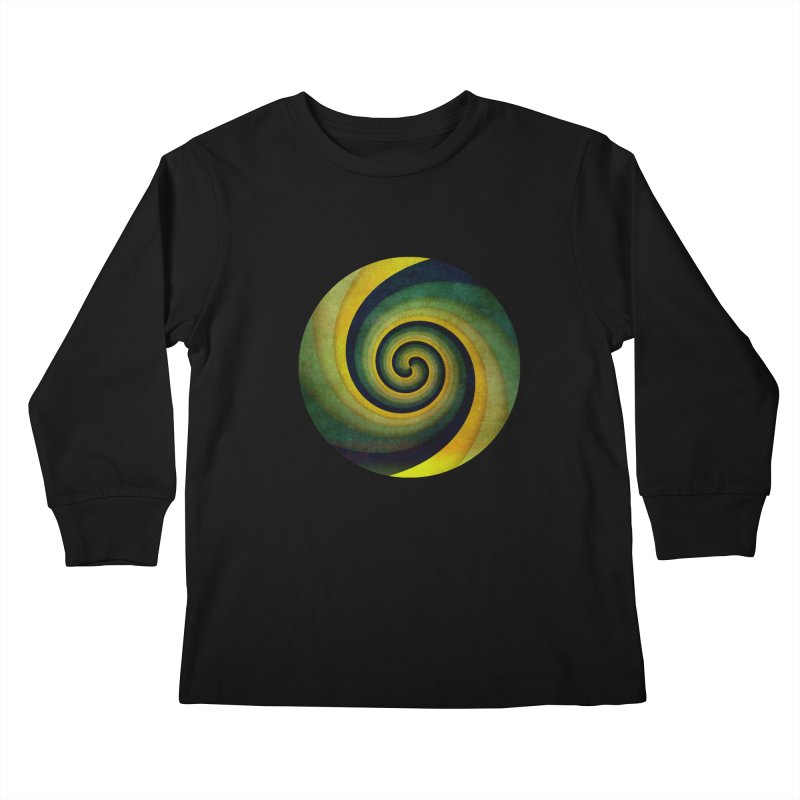 Green Swirl Kids Longsleeve T-Shirt by fruityshapes's Shop