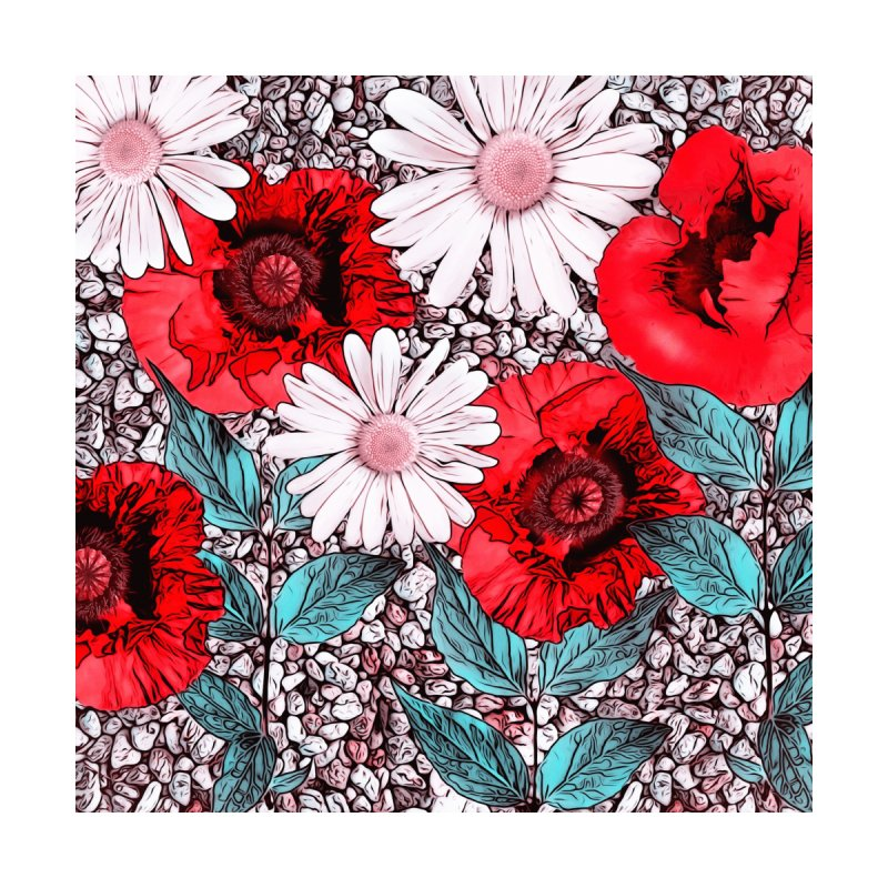 Red Poppies and Margarites by fruityshapes's Shop