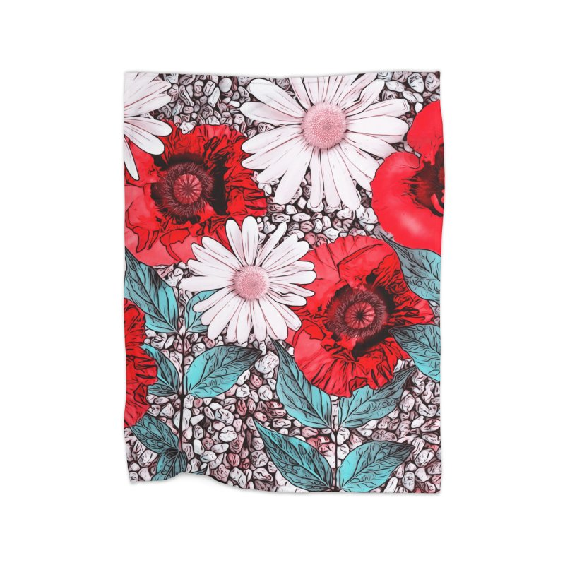 Red Poppies and Margarites Home Blanket by fruityshapes's Shop