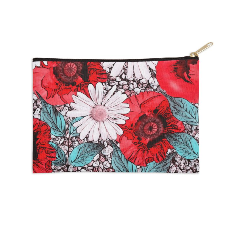 Red Poppies and Margarites Accessories Zip Pouch by fruityshapes's Shop