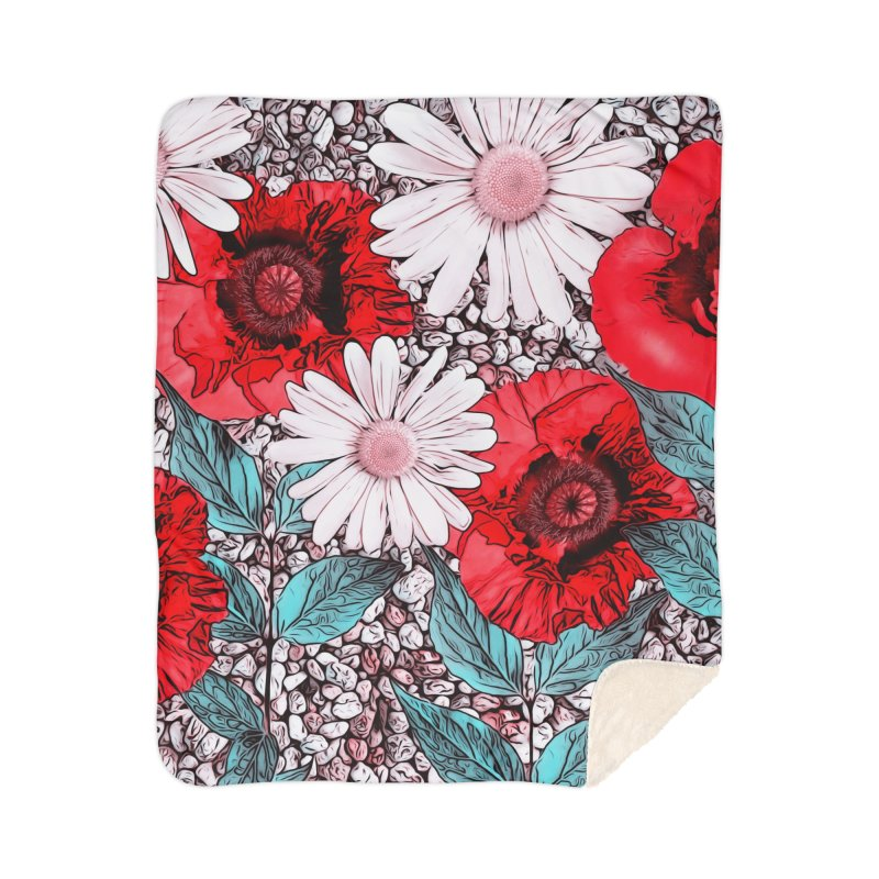 Red Poppies and Margarites Home Sherpa Blanket Blanket by fruityshapes's Shop