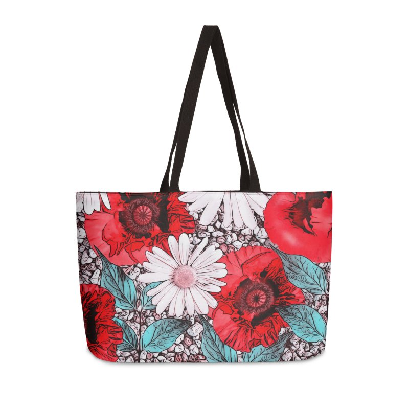 Red Poppies and Margarites Accessories Weekender Bag Bag by fruityshapes's Shop