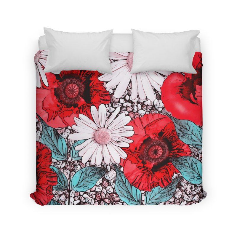 Red Poppies and Margarites Home Duvet by fruityshapes's Shop