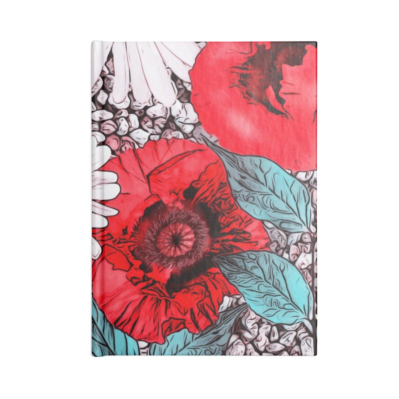 Red Poppies and Margarites Accessories Lined Journal Notebook by fruityshapes's Shop