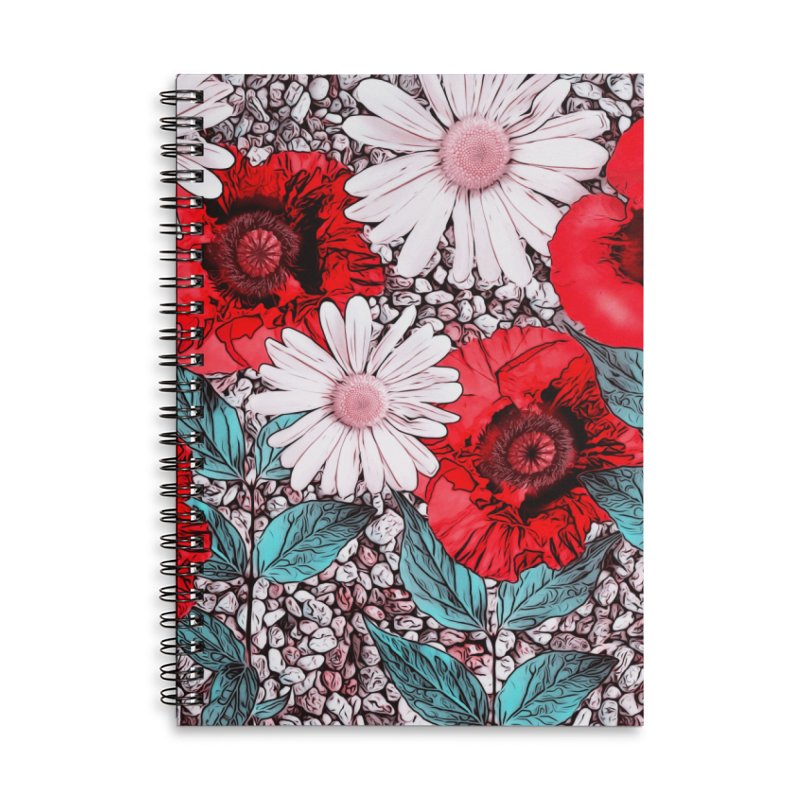 Red Poppies and Margarites Accessories Lined Spiral Notebook by fruityshapes's Shop
