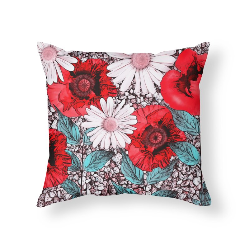 Red Poppies and Margarites Home Throw Pillow by fruityshapes's Shop