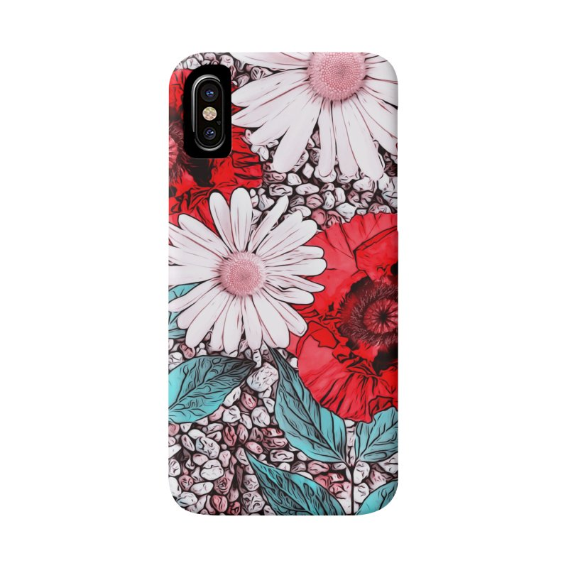 Red Poppies and Margarites Accessories Phone Case by fruityshapes's Shop