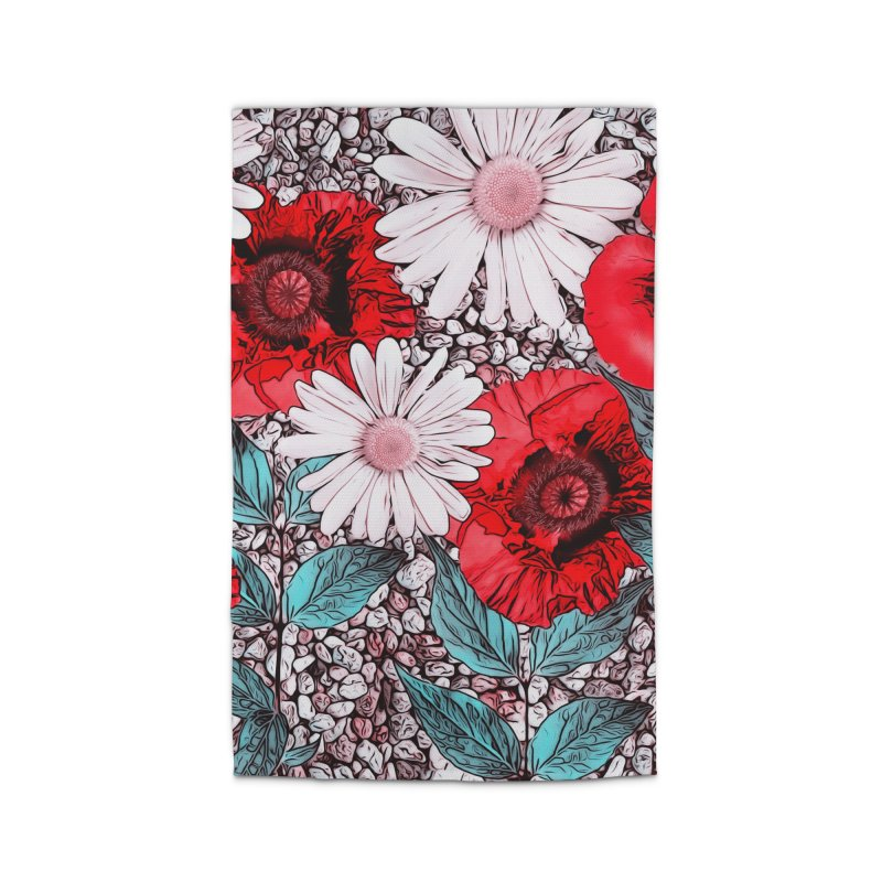 Red Poppies and Margarites Home Rug by fruityshapes's Shop
