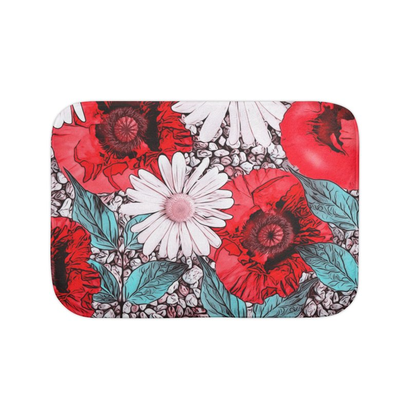 Red Poppies and Margarites Home Bath Mat by fruityshapes's Shop