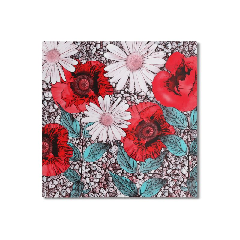 Red Poppies and Margarites Home Mounted Aluminum Print by fruityshapes's Shop