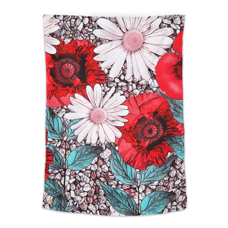 Red Poppies and Margarites Home Tapestry by fruityshapes's Shop