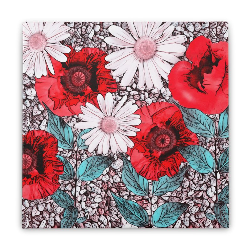 Red Poppies and Margarites Home Stretched Canvas by fruityshapes's Shop