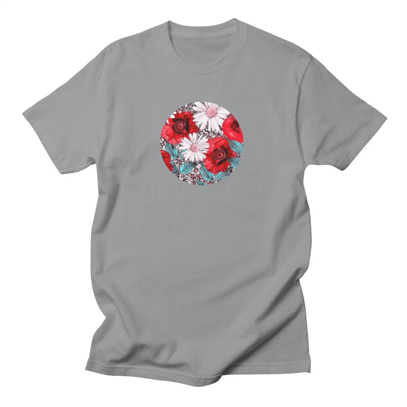 Red Poppies and Margarites Women's Regular Unisex T-Shirt by fruityshapes's Shop